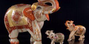 Marble Elephant Miniature Paiting