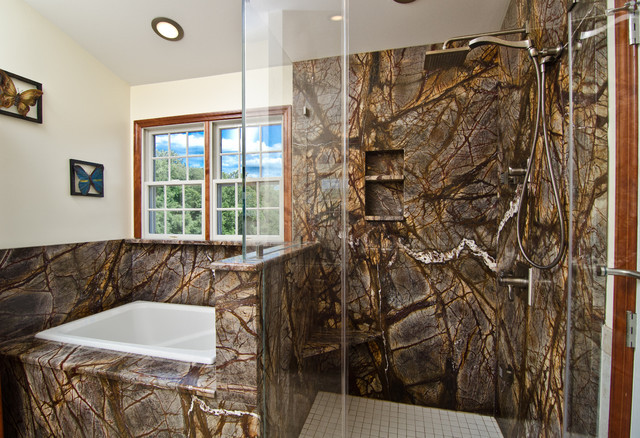 Forest Brown Marble Bathroom