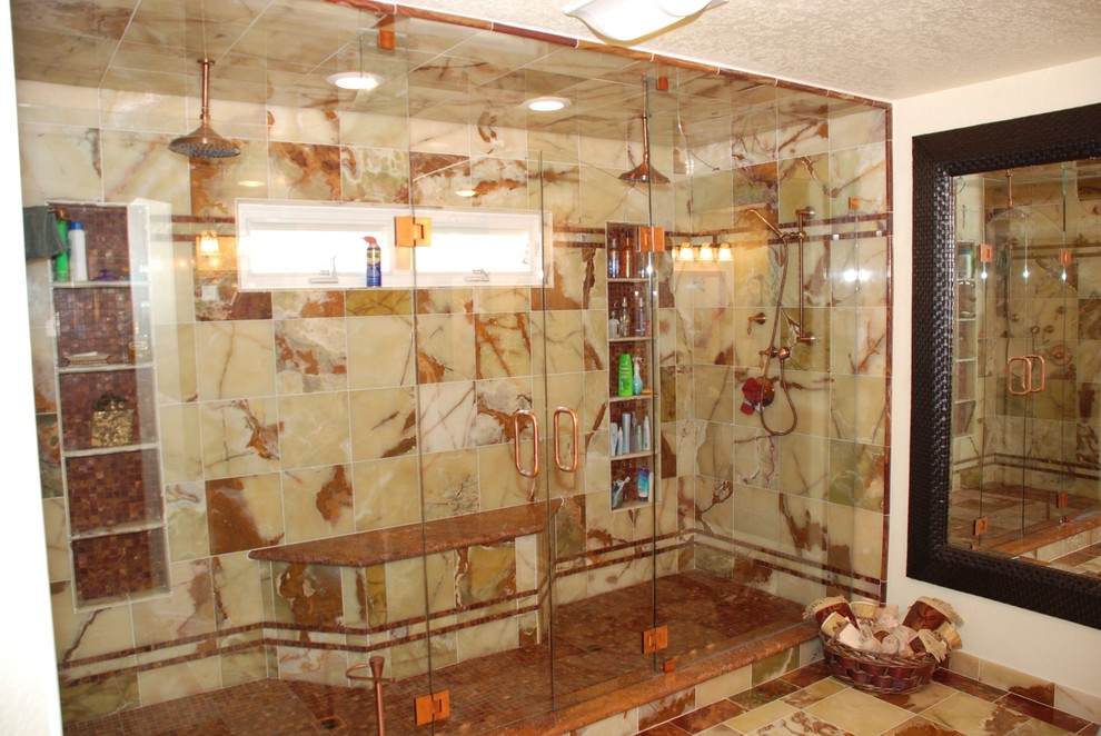 huge double shower and red and green onyx and copper fixtures and double shower doors dreamworks remodeling img 6001e44a03768770 9 9164 1 0ed98c2