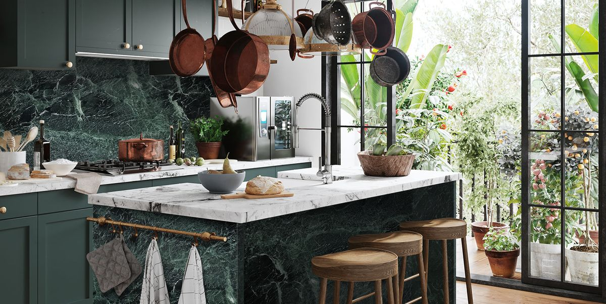 modern kitchen kitchen island green marble verde tinos carrara mix kitchen 1614609430